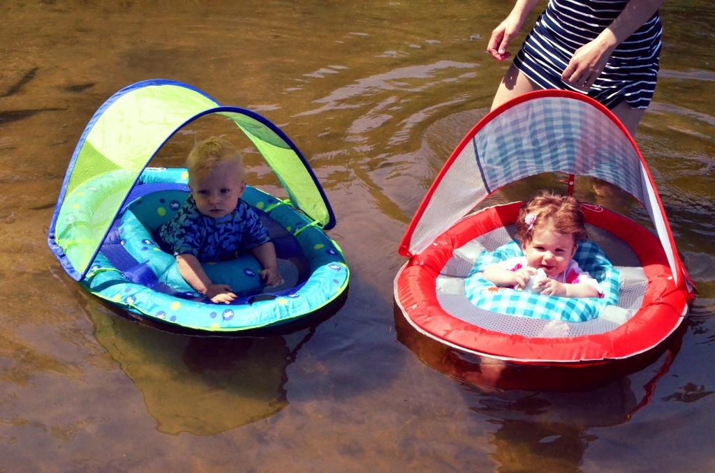 Kids floating